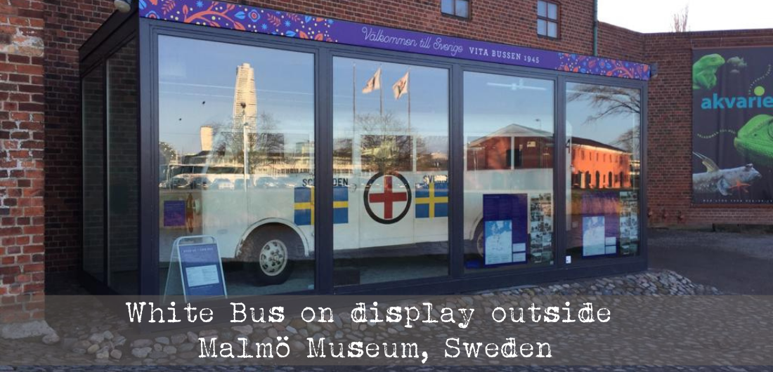 White Bus on display outside Malmö Museum, Sweden